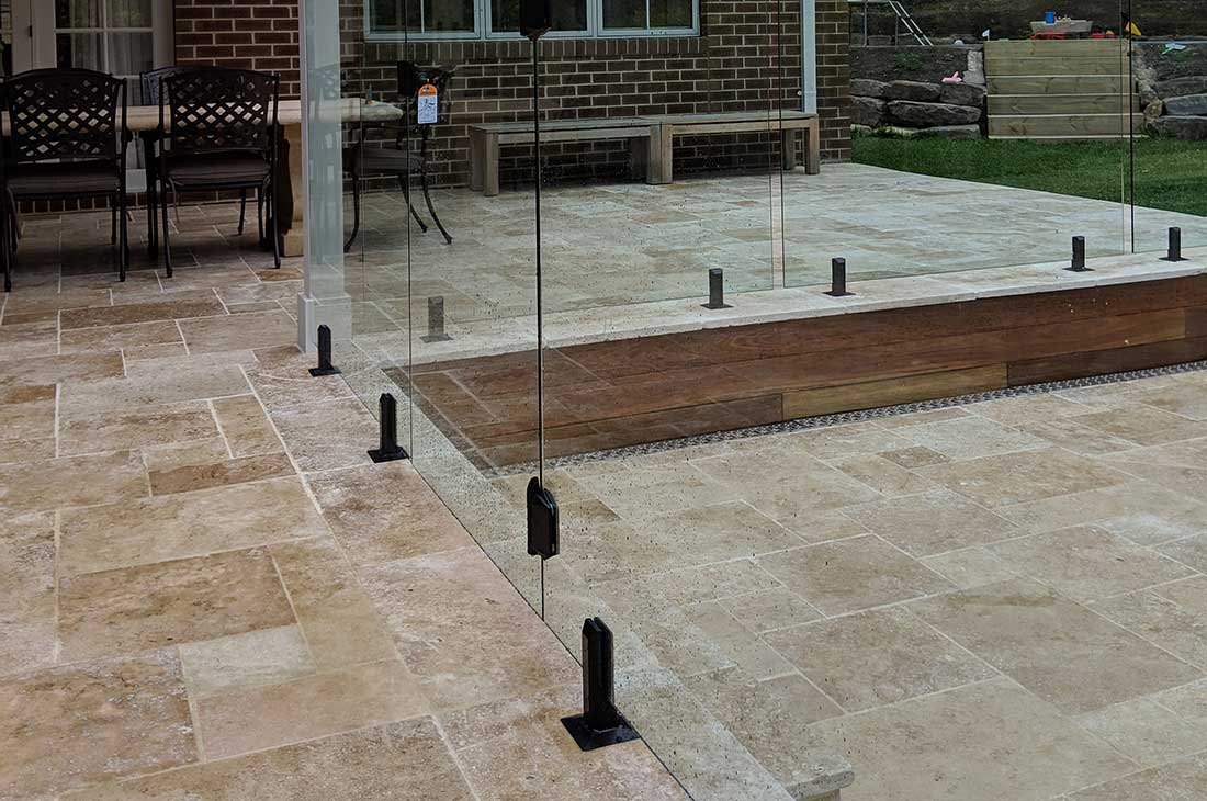 Frameless Glass Fencing With Matte Black Spigots